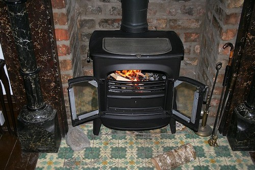 Wood stove fire