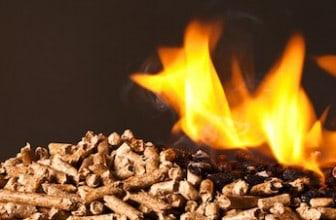 wood pellets burning in flames