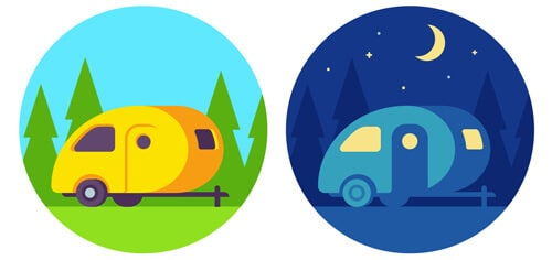 teardrop campers at day and night