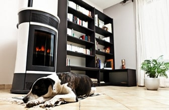 pellet stove and dog