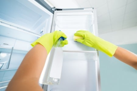 Person cleaning Refrigerator
