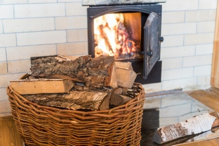 wood and a burning stove