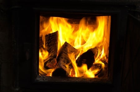 burning wood in a wood stove