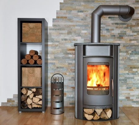 Wood fired stove with fire-wood