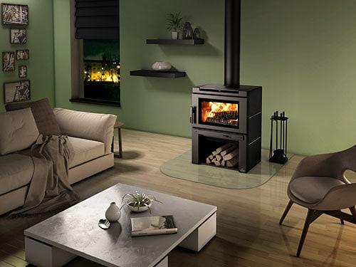 osburn matrix stove in living room